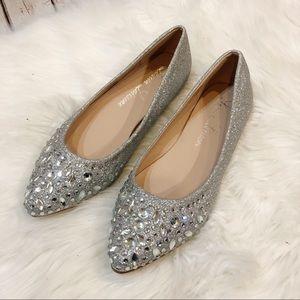 Lauren Lorraine Kelsey Silver Glitter Jeweled Flat